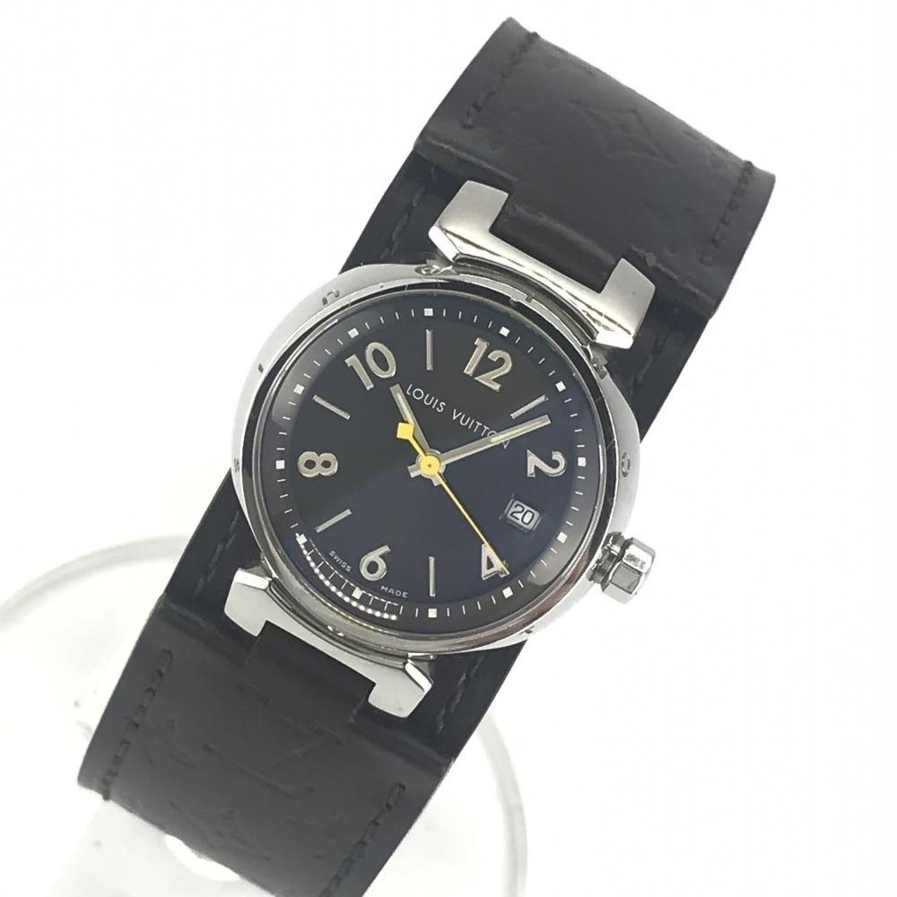 LOUIS VUITTON ルイヴィトン Q1211 タンブール レディース 腕時計 クオーツ ブラウン文字盤 アラビアインデックス 3針 デイト 管理YK23048_画像1