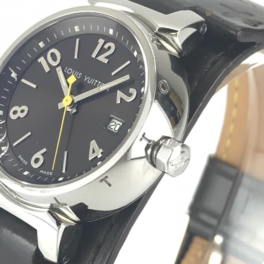 LOUIS VUITTON ルイヴィトン Q1211 タンブール レディース 腕時計 クオーツ ブラウン文字盤 アラビアインデックス 3針 デイト 管理YK23048_画像3