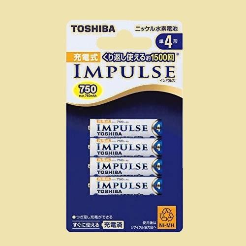 在庫残りあと僅か ニッケル水素電池 TOSHIBA 1-LK TNH-4A 4P 充電式IMPULSE 単4形充電池(min.750mAh) 4本_画像1