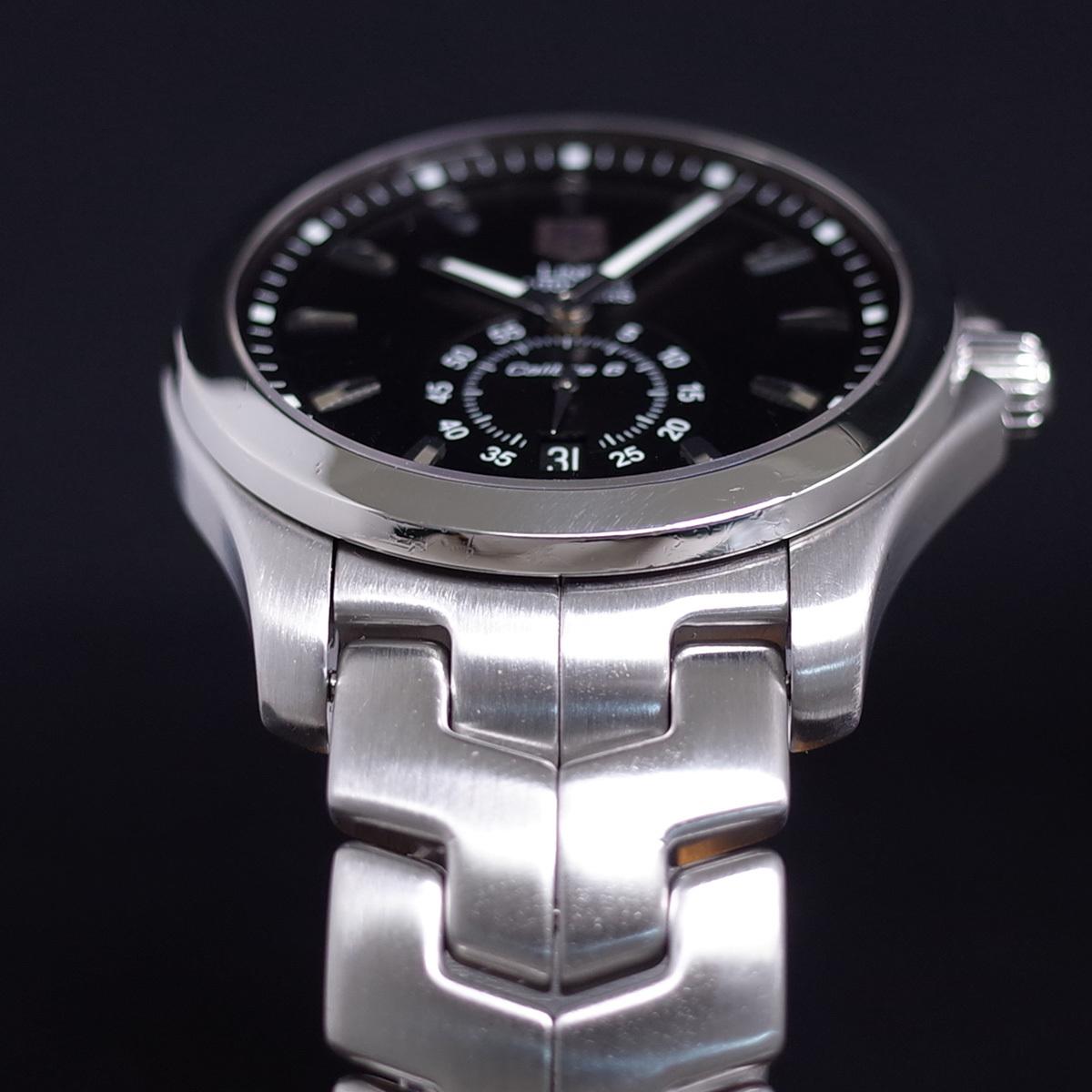 1年保証♪タグホイヤー【リンク】キャリバー6 WJF211A 自動巻 黒文字盤 ブラック ブレスレット 箱 メンズ 腕時計 TAG HEUER_画像3