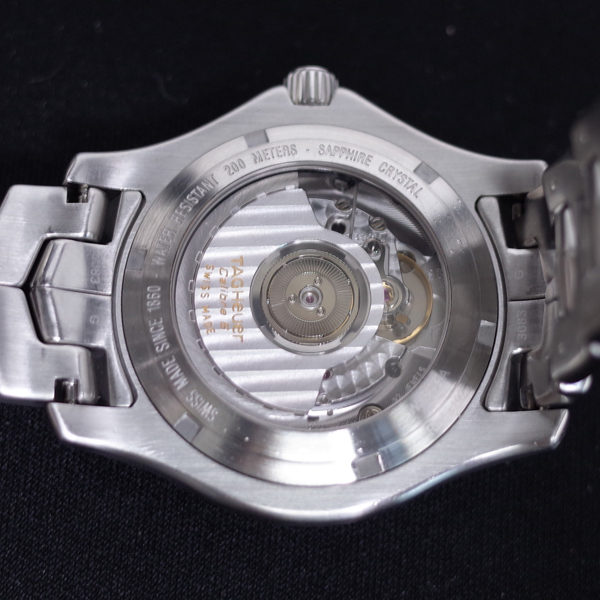 1年保証♪タグホイヤー【リンク】キャリバー6 WJF211A 自動巻 黒文字盤 ブラック ブレスレット 箱 メンズ 腕時計 TAG HEUER_画像6