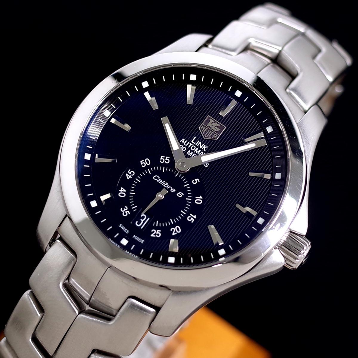 1年保証♪タグホイヤー【リンク】キャリバー6 WJF211A 自動巻 黒文字盤 ブラック ブレスレット 箱 メンズ 腕時計 TAG HEUER_画像2