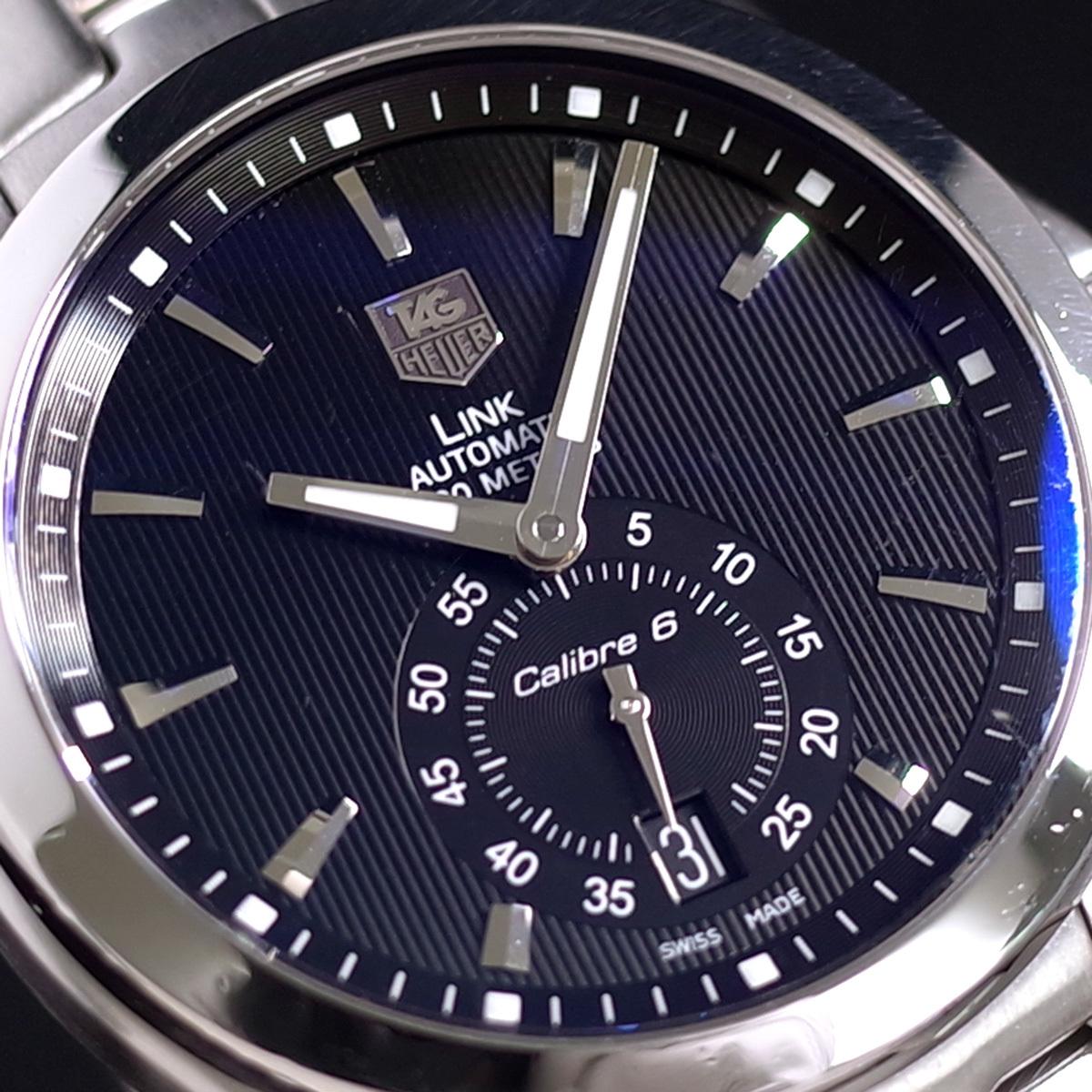 1年保証♪タグホイヤー【リンク】キャリバー6 WJF211A 自動巻 黒文字盤 ブラック ブレスレット 箱 メンズ 腕時計 TAG HEUER_画像5
