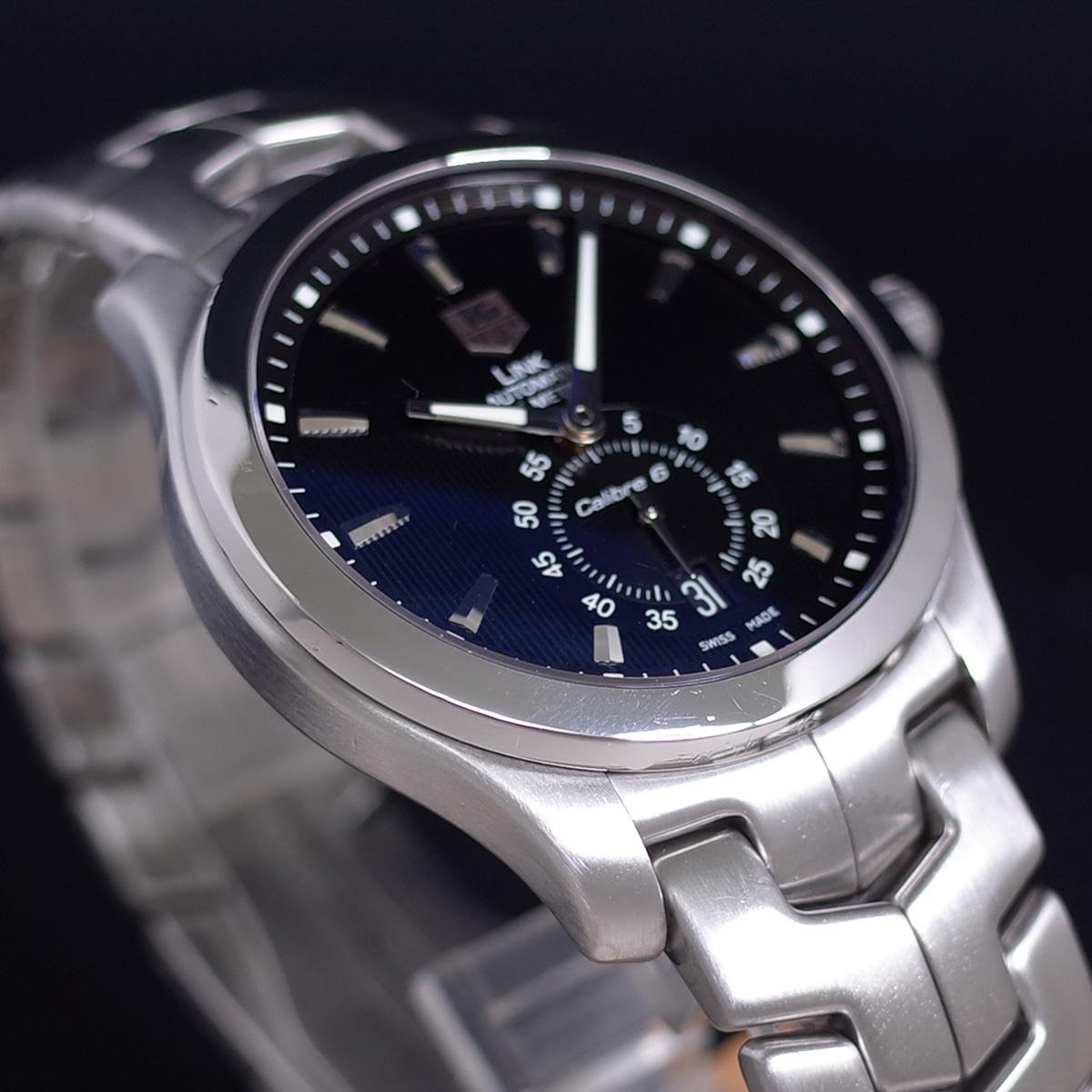 1年保証♪タグホイヤー【リンク】キャリバー6 WJF211A 自動巻 黒文字盤 ブラック ブレスレット 箱 メンズ 腕時計 TAG HEUER_画像4