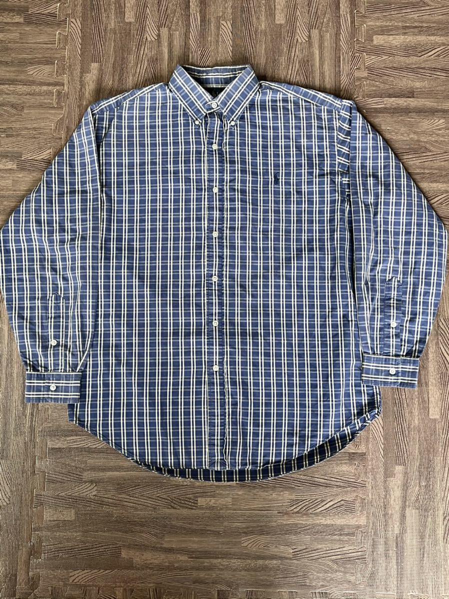 激安破格!POLO RALPH LAUREN ポロラルフローレン チェックシャツ ブルー 青 大きめ ビッグシルエット 長袖シャツ_画像3
