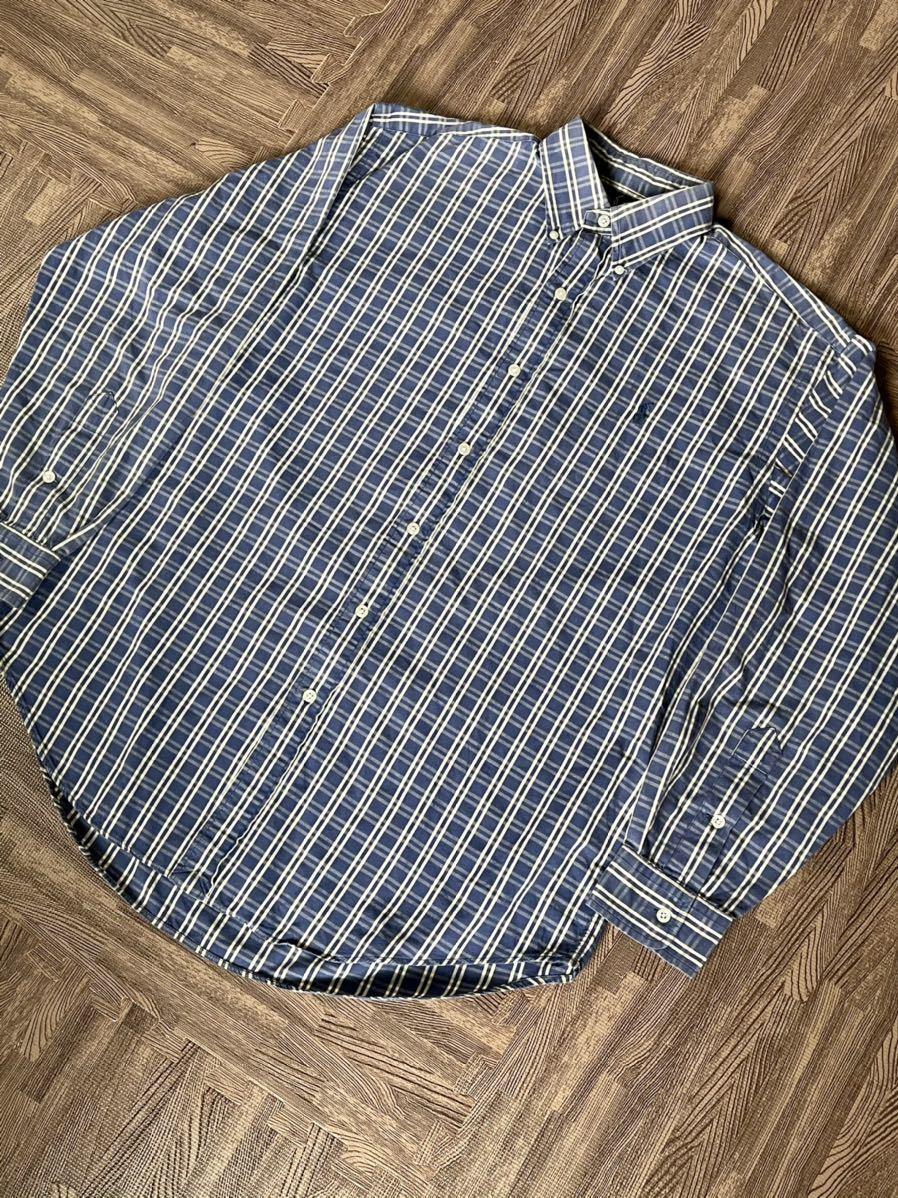 激安破格!POLO RALPH LAUREN ポロラルフローレン チェックシャツ ブルー 青 大きめ ビッグシルエット 長袖シャツ_画像2
