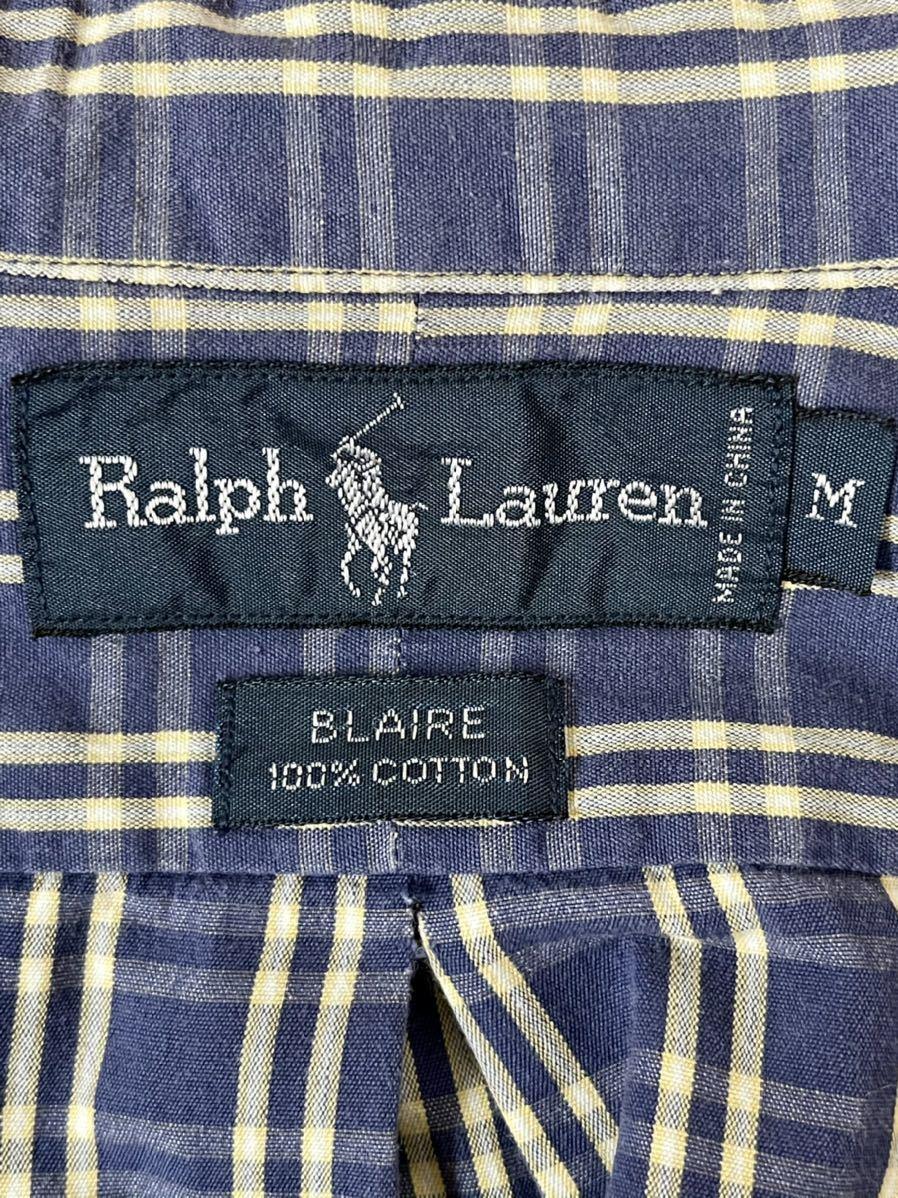 激安破格!POLO RALPH LAUREN ポロラルフローレン チェックシャツ ブルー 青 大きめ ビッグシルエット 長袖シャツ_画像5