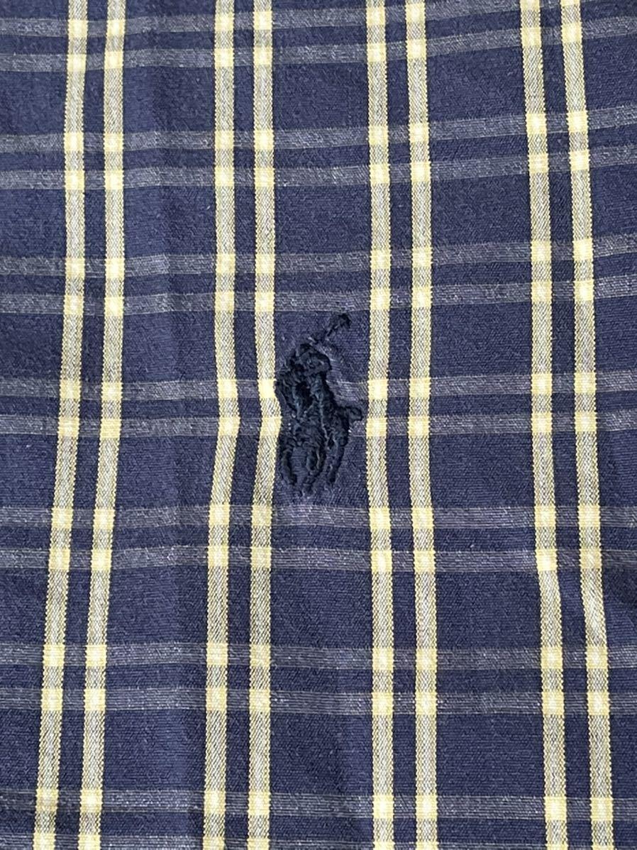 激安破格!POLO RALPH LAUREN ポロラルフローレン チェックシャツ ブルー 青 大きめ ビッグシルエット 長袖シャツ_画像4