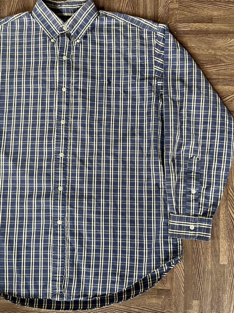 激安破格!POLO RALPH LAUREN ポロラルフローレン チェックシャツ ブルー 青 大きめ ビッグシルエット 長袖シャツ_画像1