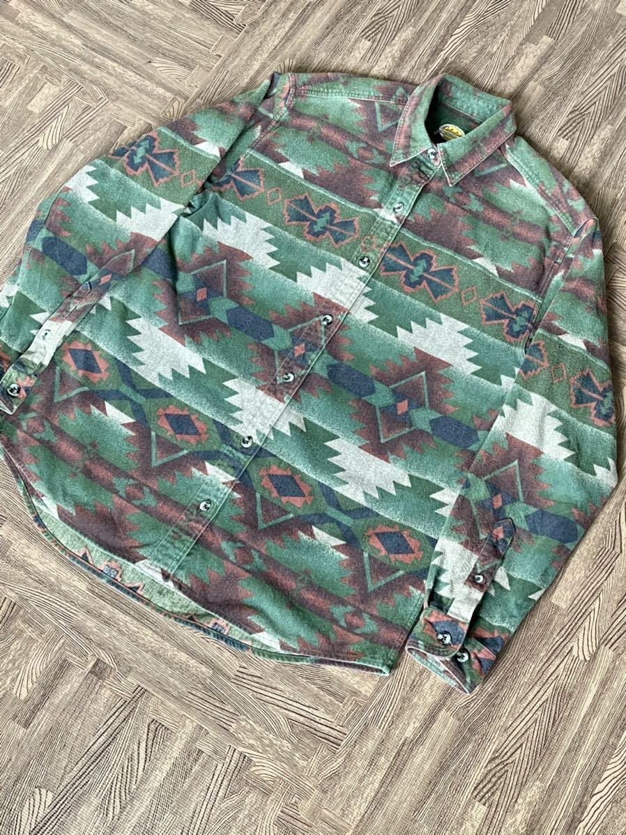 激安破格!Cabela's カラベス ネイティブ柄 シャモアクロスシャツ 90s アウトドア 長袖シャツ_画像2