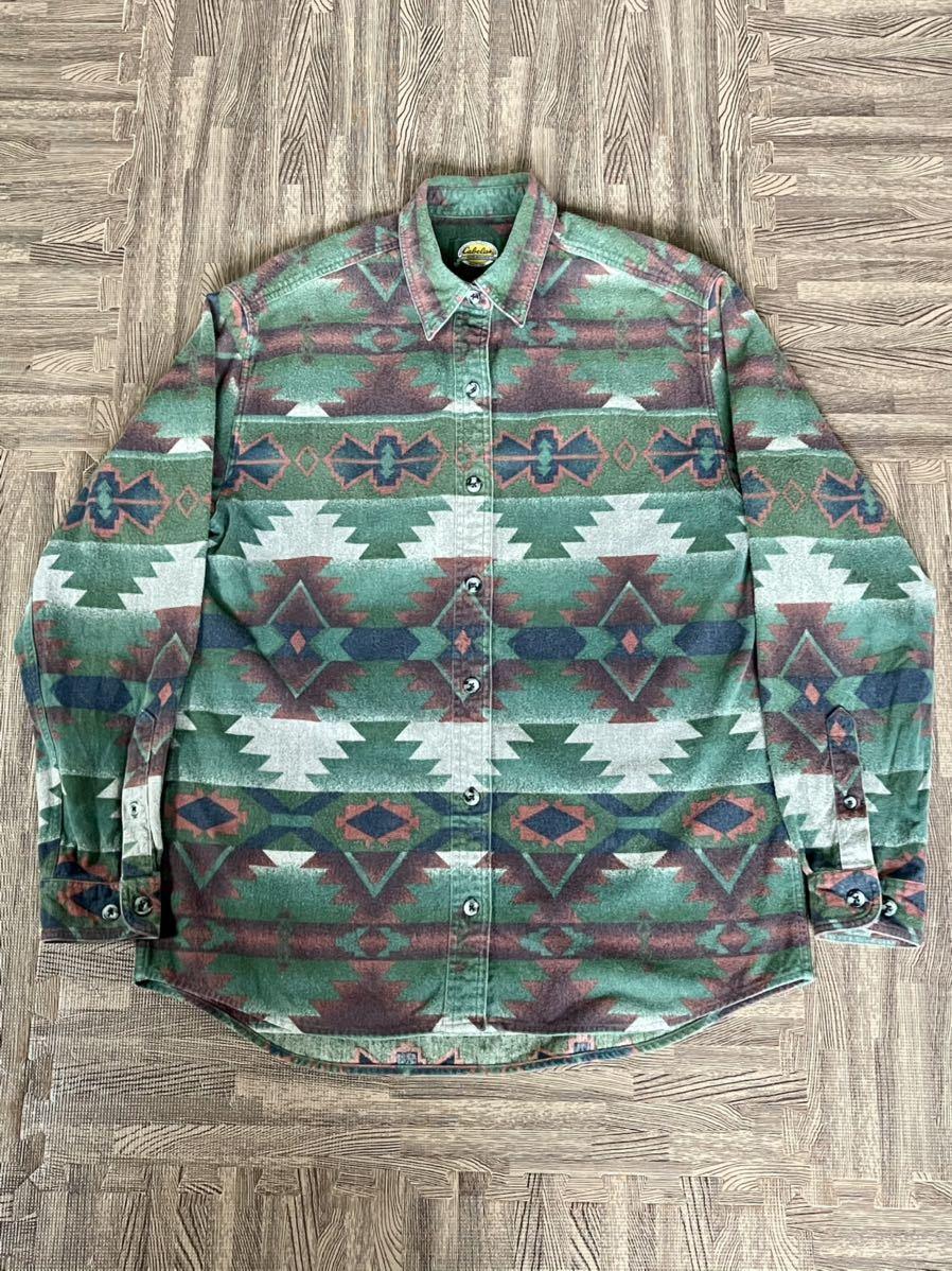 激安破格!Cabela's カラベス ネイティブ柄 シャモアクロスシャツ 90s アウトドア 長袖シャツ_画像3