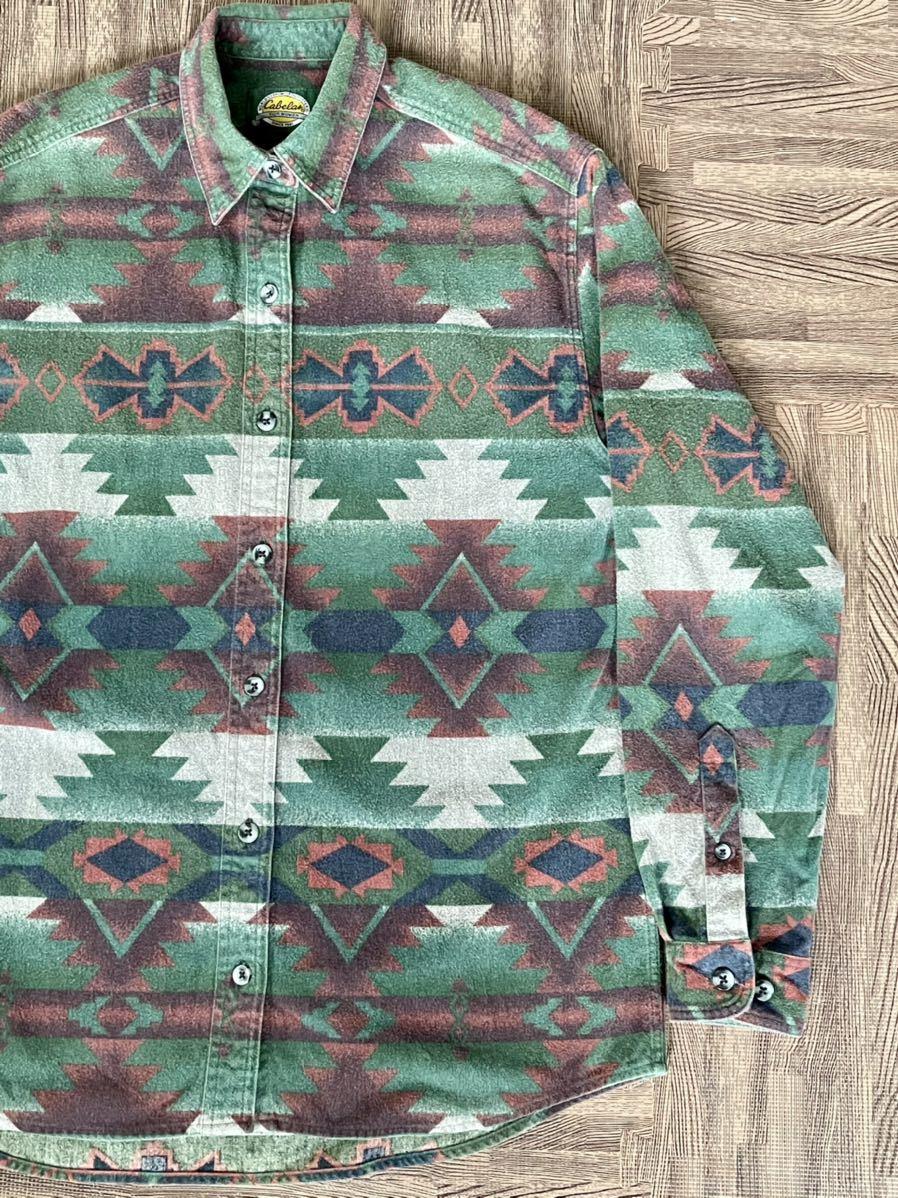 激安破格!Cabela's カラベス ネイティブ柄 シャモアクロスシャツ 90s アウトドア 長袖シャツ_画像1
