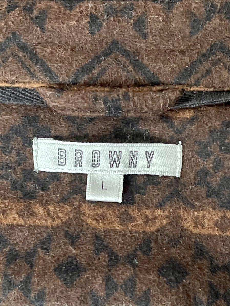 激安破格!Browny ブラウニー ネイティブ柄 シャツ 美品 オルテガ 茶 L アウトドア 長袖シャツ_画像5