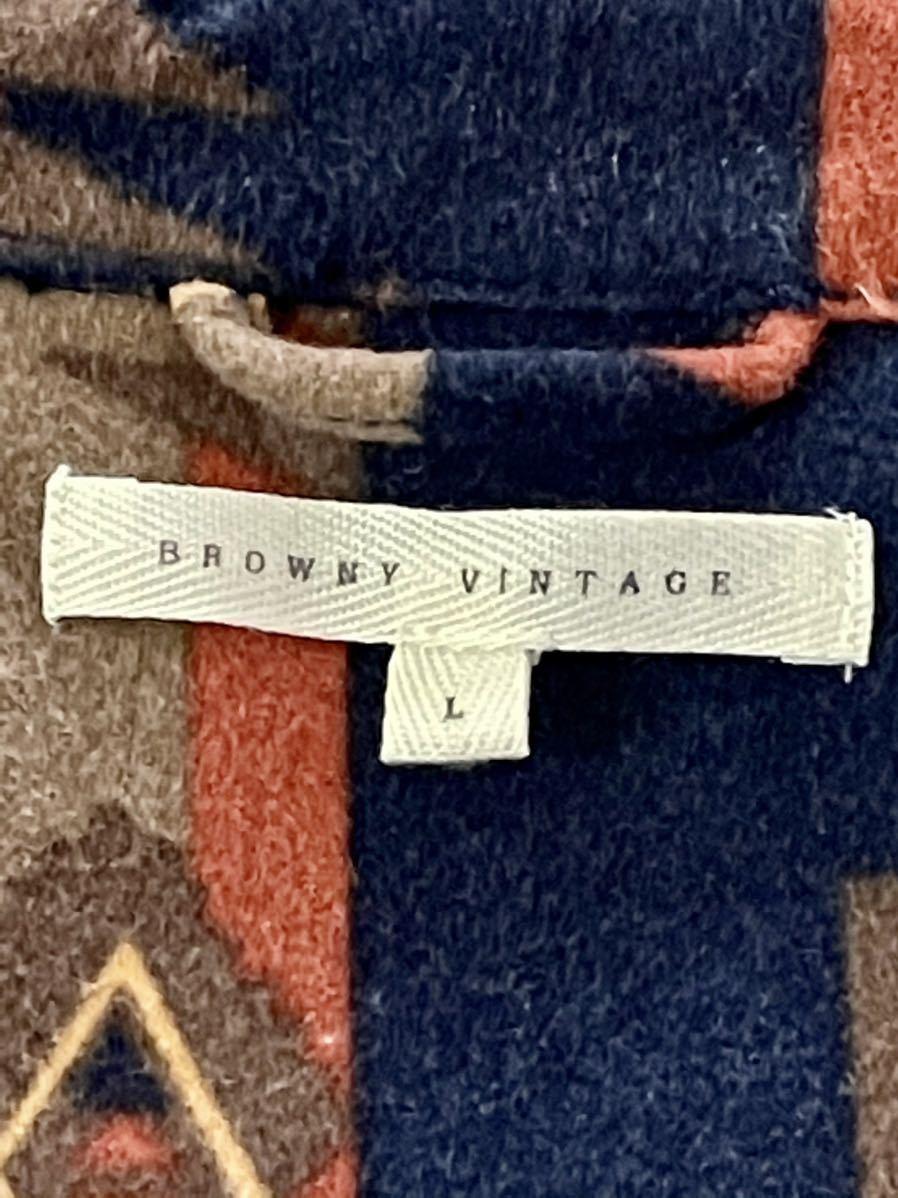 激安破格!Browny ブラウニー ネイティブ柄 シャツ 美品 オルテガ 紺 L 総柄 長袖シャツ アウトドア_画像6