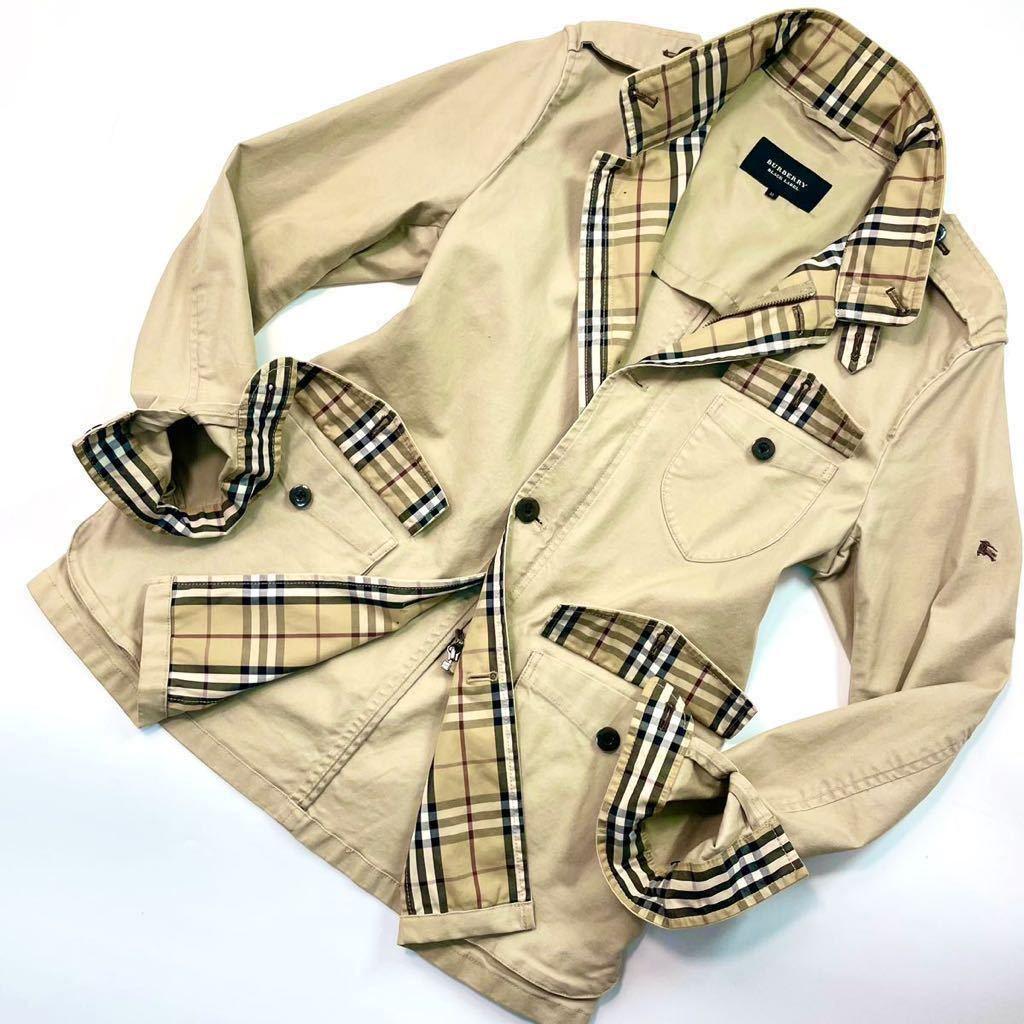 バーバリーブラックレーベル ミリタリージャケット リネン混 ホースマーク刺繍 ベージュ