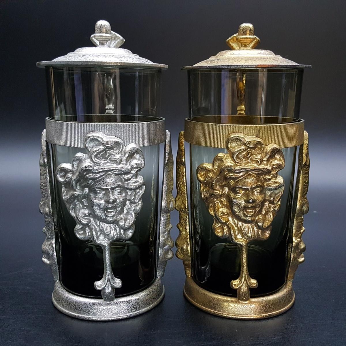 【宝蔵】アンティーク メデューサ メドゥーサ 金銀一対 蓋付グラス 一組 カップ コップ_画像2