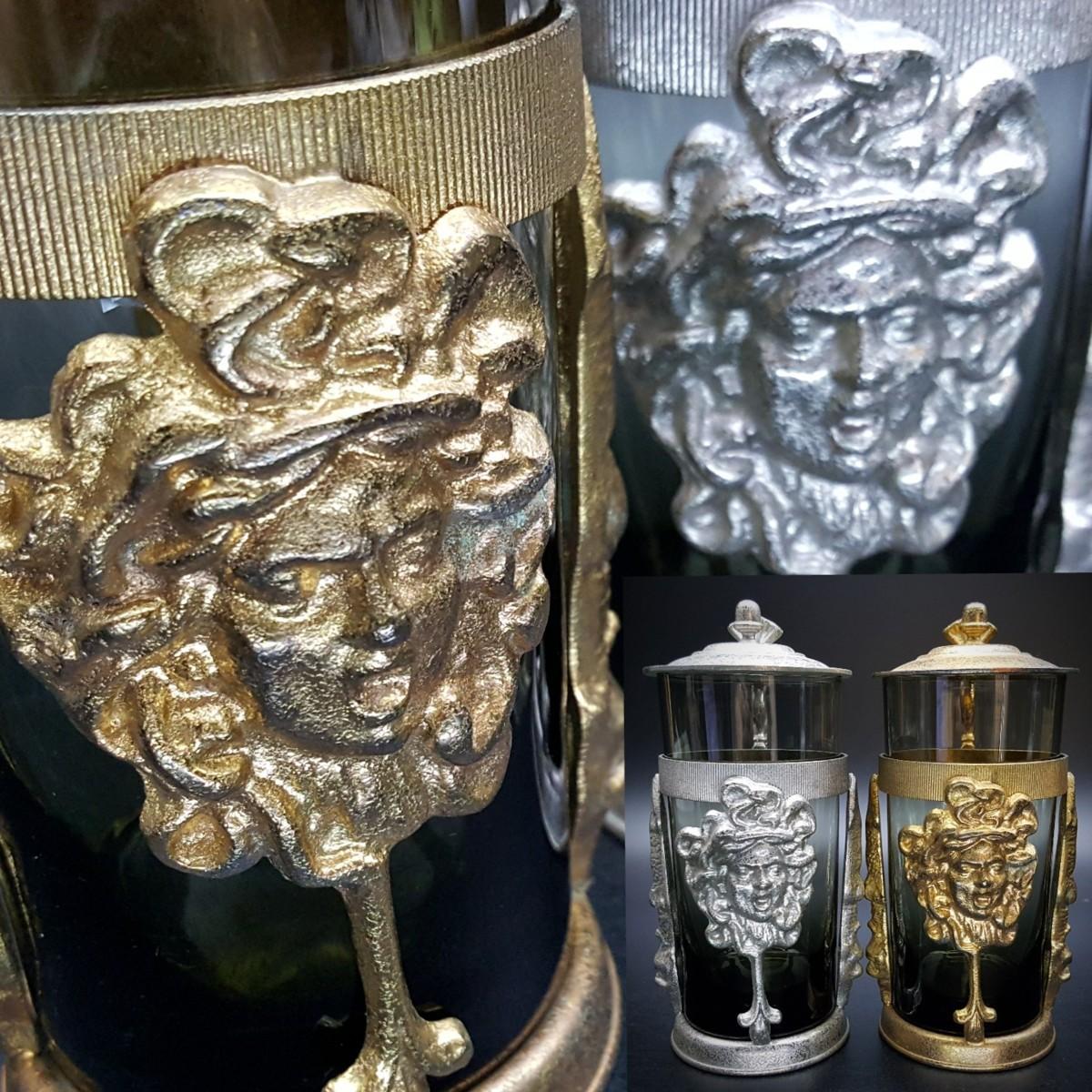 【宝蔵】アンティーク メデューサ メドゥーサ 金銀一対 蓋付グラス 一組 カップ コップ_画像1
