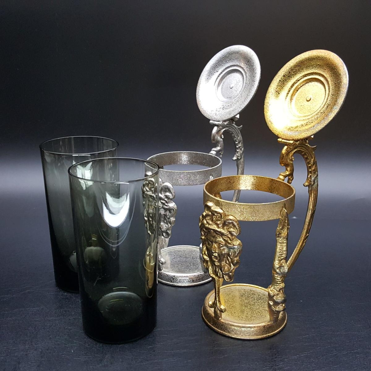【宝蔵】アンティーク メデューサ メドゥーサ 金銀一対 蓋付グラス 一組 カップ コップ_画像6