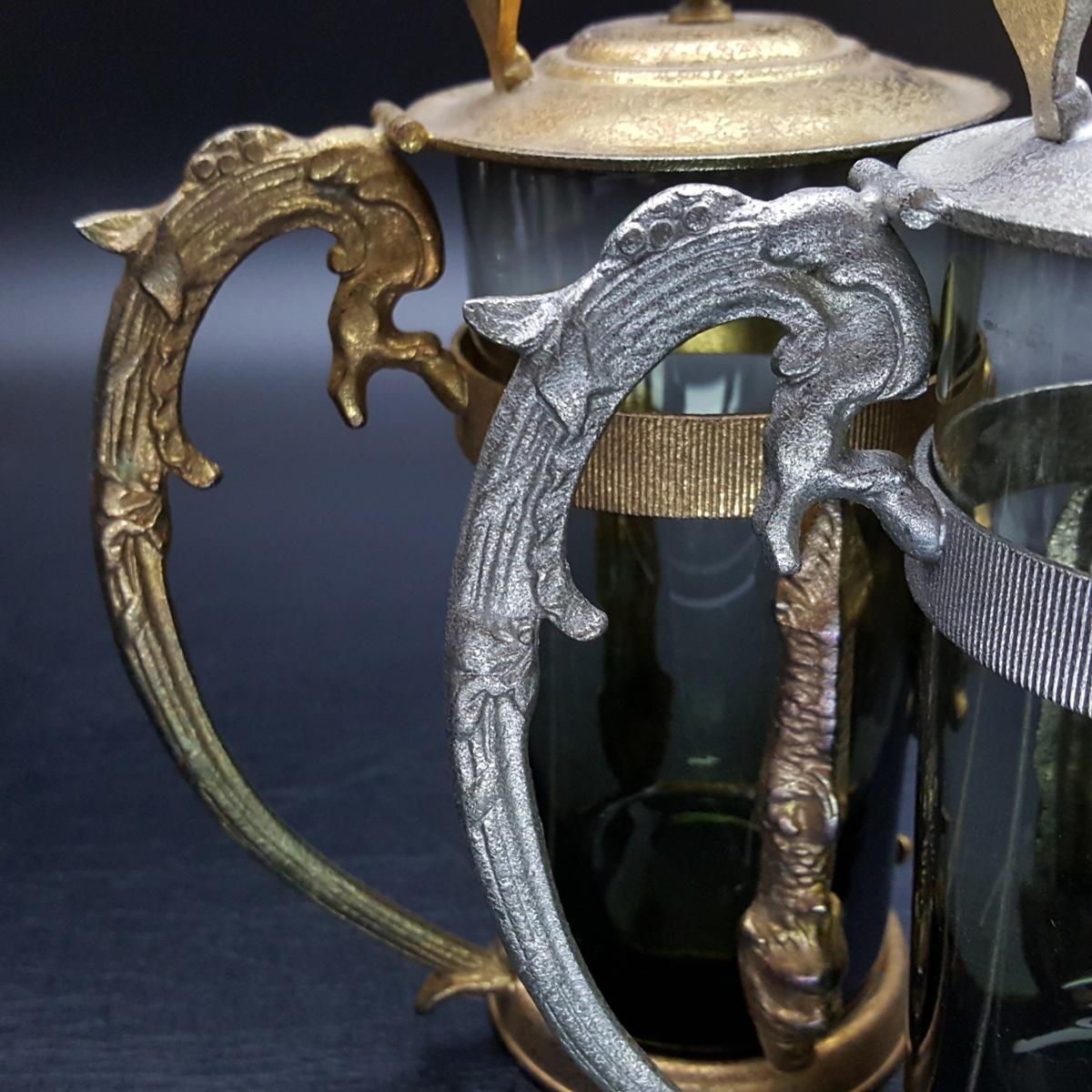 【宝蔵】アンティーク メデューサ メドゥーサ 金銀一対 蓋付グラス 一組 カップ コップ_画像7