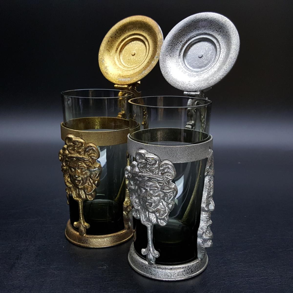 【宝蔵】アンティーク メデューサ メドゥーサ 金銀一対 蓋付グラス 一組 カップ コップ_画像4