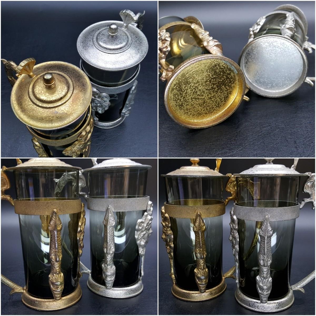 【宝蔵】アンティーク メデューサ メドゥーサ 金銀一対 蓋付グラス 一組 カップ コップ_画像9