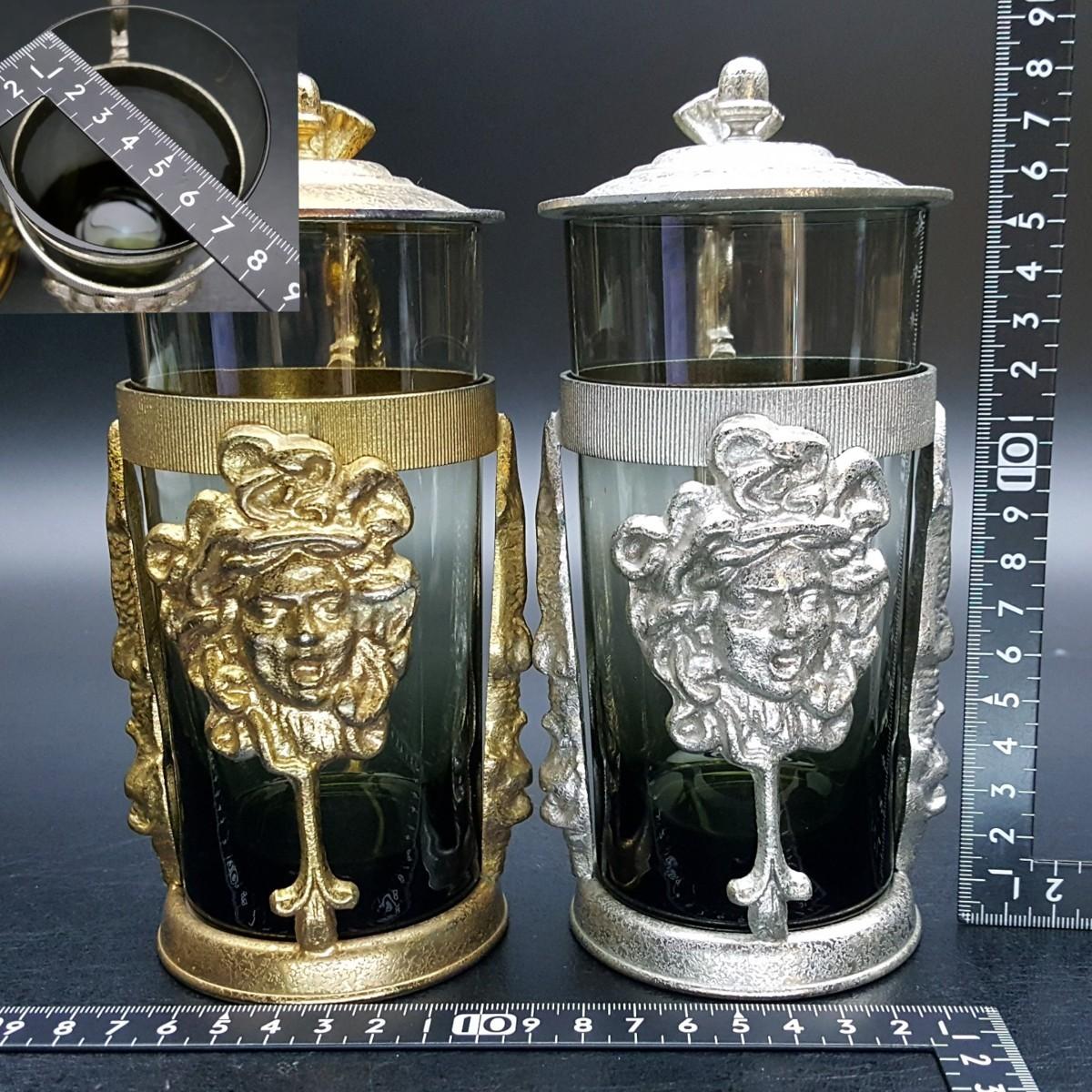 【宝蔵】アンティーク メデューサ メドゥーサ 金銀一対 蓋付グラス 一組 カップ コップ_画像10