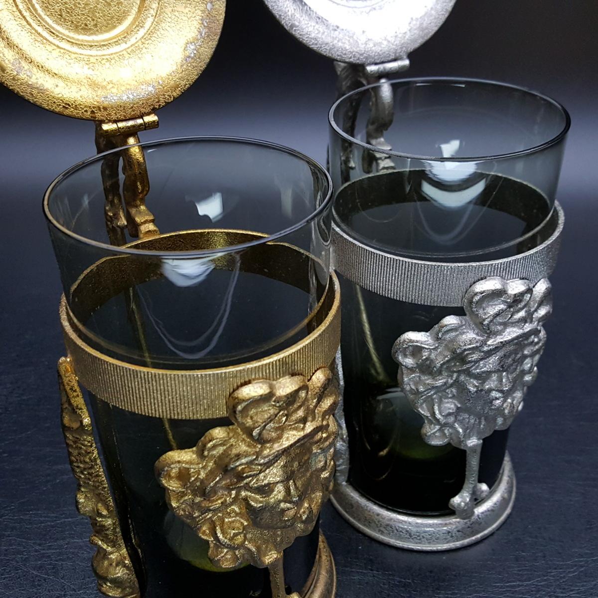 【宝蔵】アンティーク メデューサ メドゥーサ 金銀一対 蓋付グラス 一組 カップ コップ_画像5