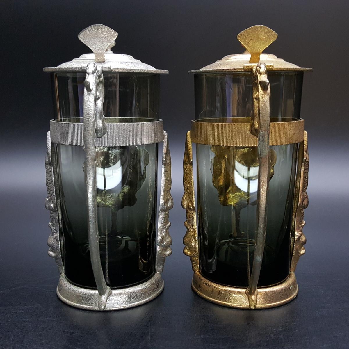 【宝蔵】アンティーク メデューサ メドゥーサ 金銀一対 蓋付グラス 一組 カップ コップ_画像3