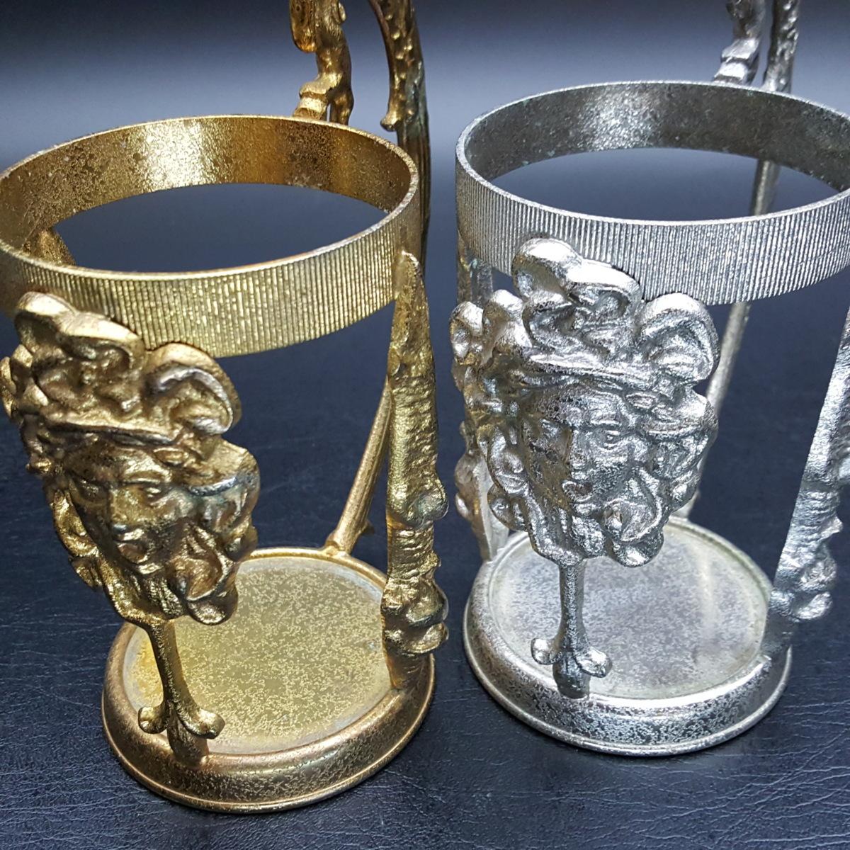 【宝蔵】アンティーク メデューサ メドゥーサ 金銀一対 蓋付グラス 一組 カップ コップ_画像8