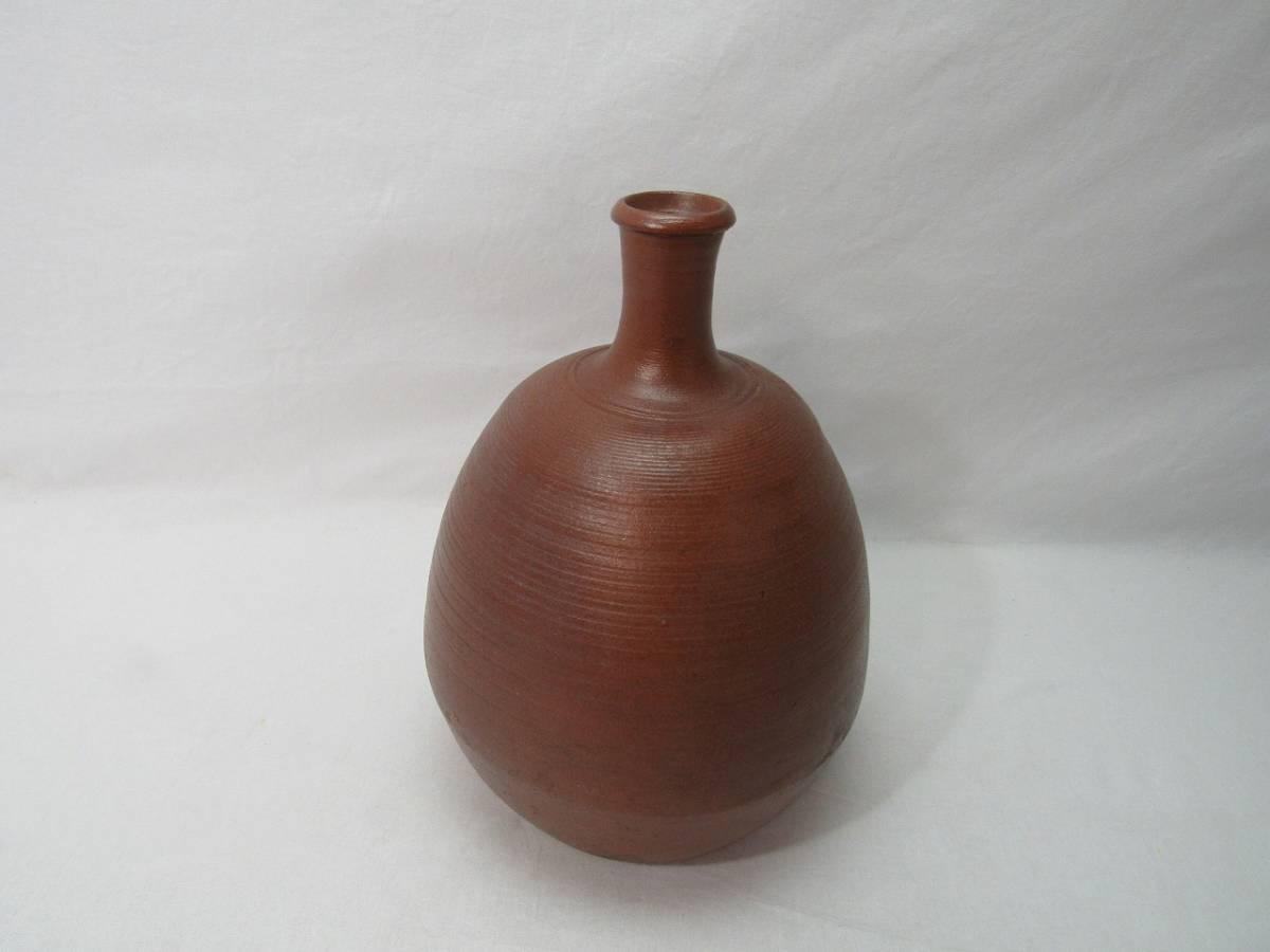 YG04336 【 古い 陶器 花瓶 印有 作者不明 箱無 】 検) 作家物 茶道具 茶事 茶会 茶席 華道具 一輪挿し 花入れ 華道 花器 いけばな 飾り ⅱ_画像1