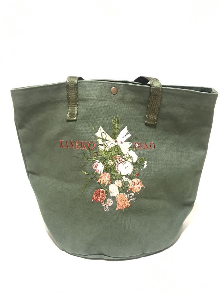 カネコイサオトートバッグ インゲボルグ ピンクハウス 刺繍 手提げバッグ 布 帆布 グリーン カーキ リボン 可愛い フラワー ブーケ