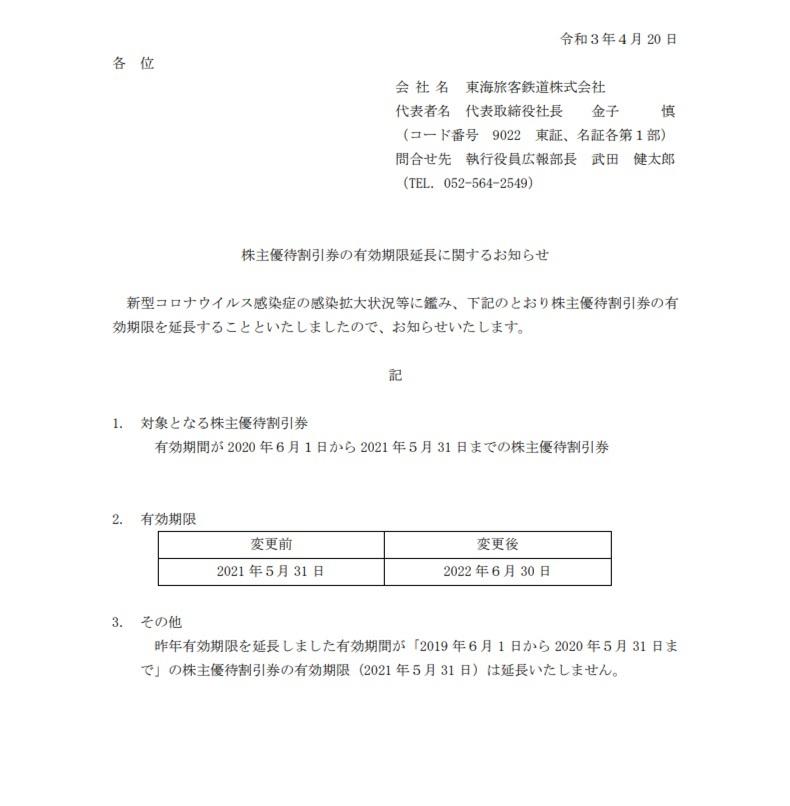 ★JR東海 株主優待割引券2枚(2021年5月31日⇒2022年6月30日に延長)_画像3