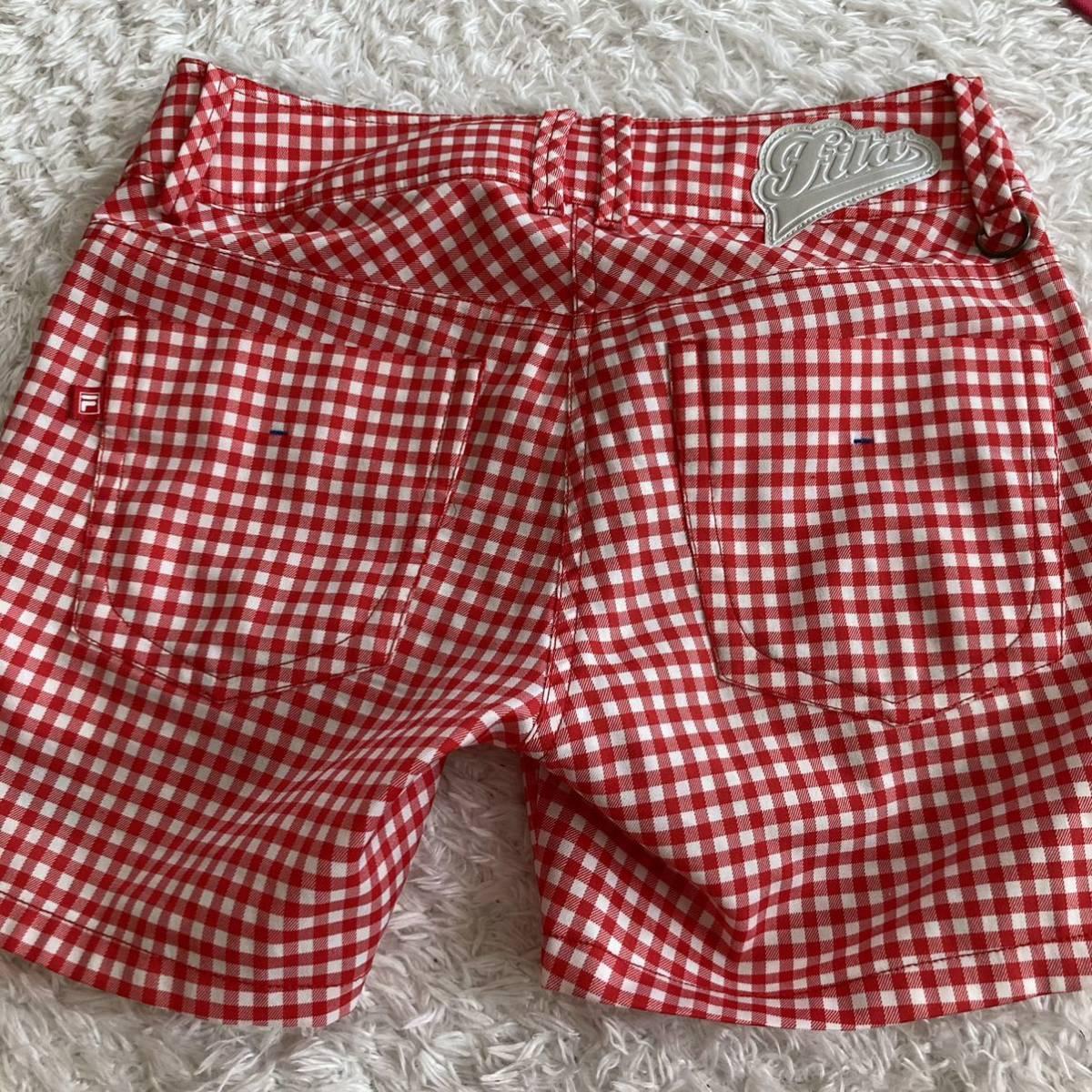 フィラゴルフ ショートパンツS 赤ギンガムチェック 半ズボン ウェア ハーフパンツ