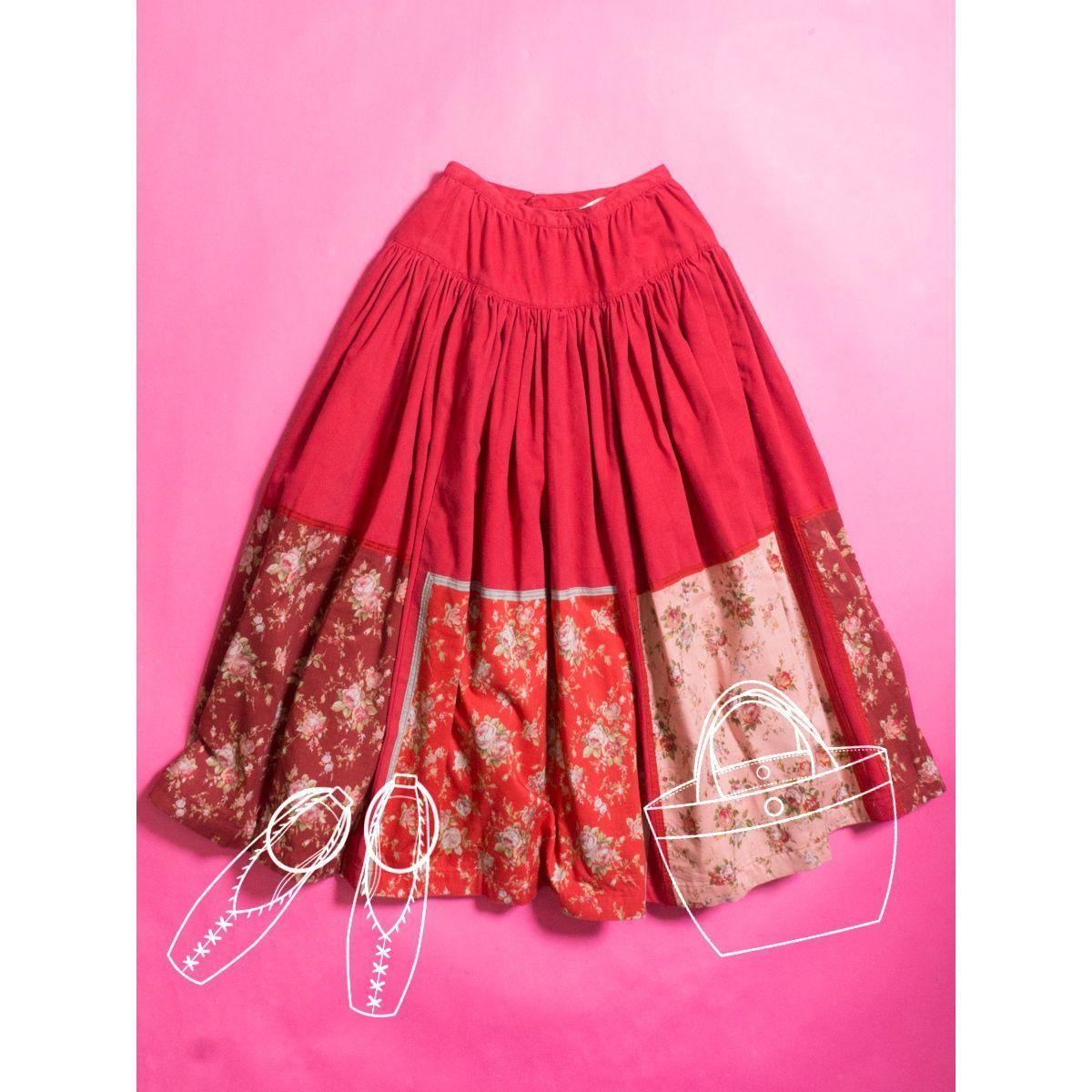 PINK HOUSE ピンクハウス ギャザースカート レッド ピンク 赤 花柄 パッチワーク バラ 綿100% ロング フレア 大人かわいい カジュアル