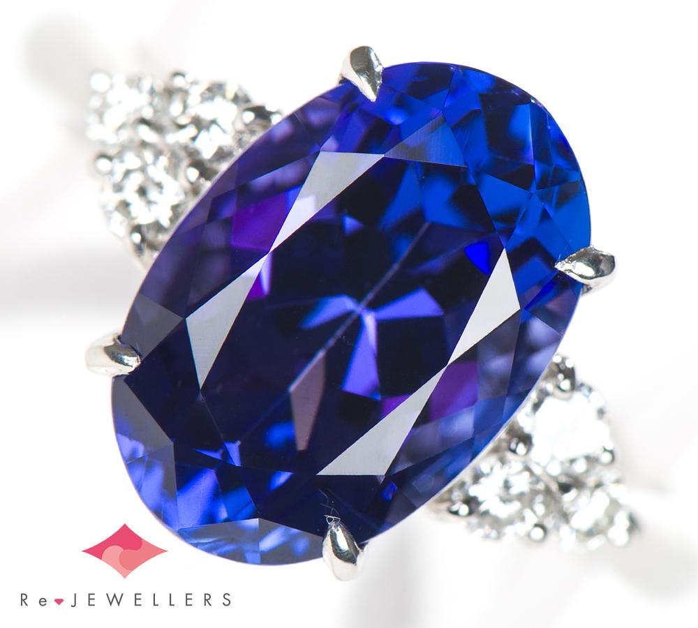 タンザナイト6.10ct ダイヤモンド 計0.30ct プラチナ900 17号 リング・指輪【中古】_画像1