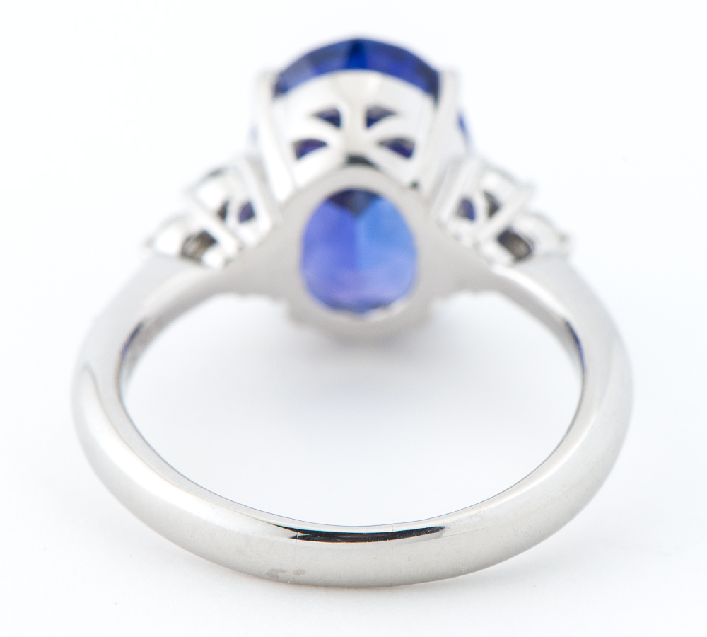 タンザナイト6.10ct ダイヤモンド 計0.30ct プラチナ900 17号 リング・指輪【中古】_画像4