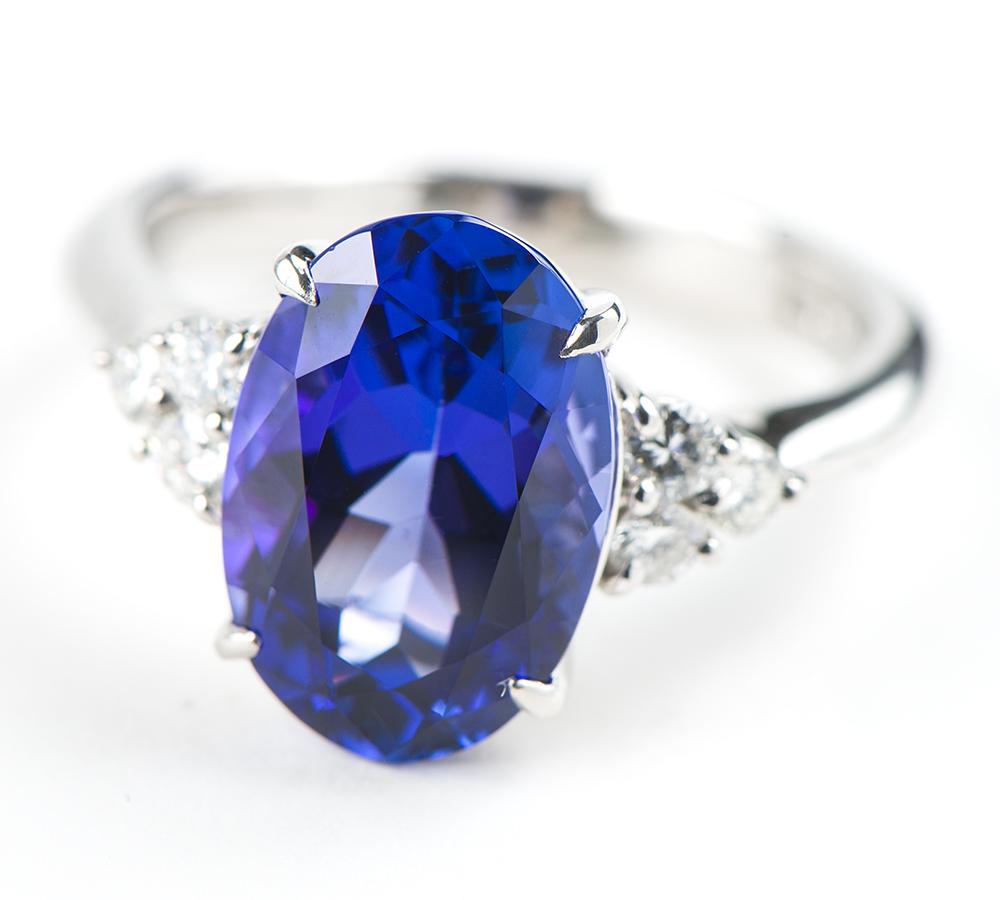 タンザナイト6.10ct ダイヤモンド 計0.30ct プラチナ900 17号 リング・指輪【中古】_画像2
