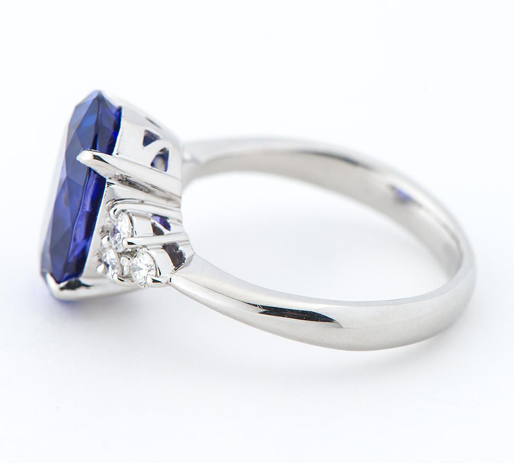 タンザナイト6.10ct ダイヤモンド 計0.30ct プラチナ900 17号 リング・指輪【中古】_画像3
