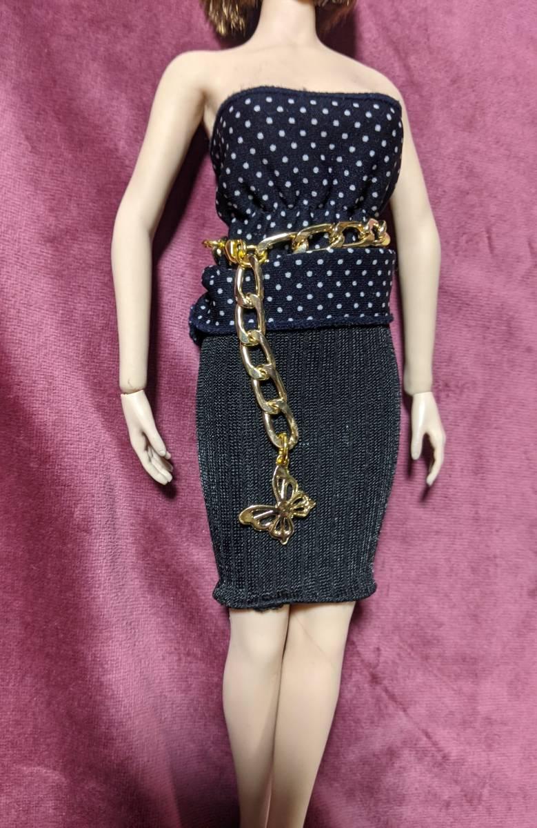 1/6ドール用ファイセンS07 クールガール ブラックボディコンシャスドレス&チェーンベルト_画像2
