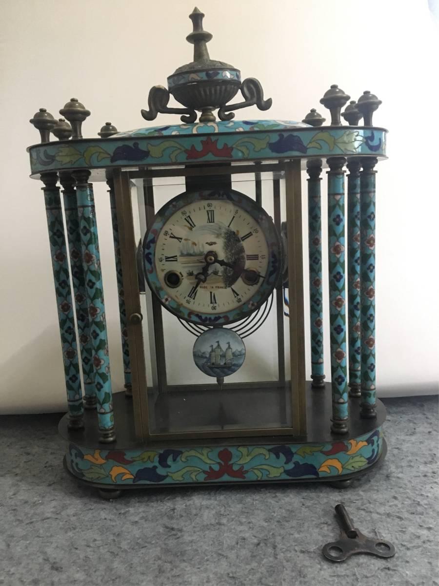 1889年フランス製 七宝装飾 機械式 置時計 七宝細工 アンティーク 古銅 銅器 細密細工 美術品