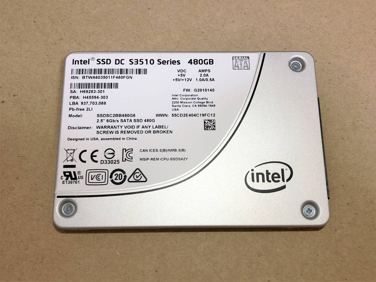 送料込 Intel SSD DC S3510 480GB MLCチップ SATA 2.5inch ビジネスモデル ハイエンド 専用コンデンサ搭載 データセンター ②