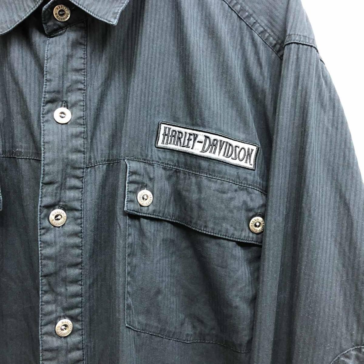 ハーレーダビッドソン Harley Davidson 古着 長袖シャツ ワーカーシャツ メンズ 2XLサイズ 9-76_画像4