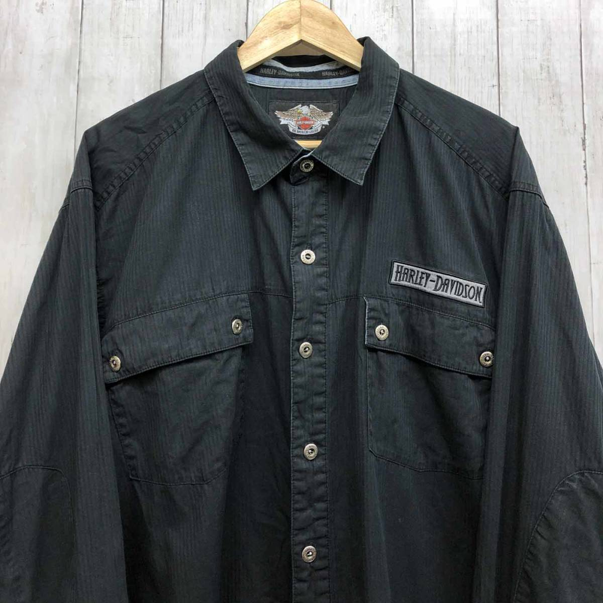 ハーレーダビッドソン Harley Davidson 古着 長袖シャツ ワーカーシャツ メンズ 2XLサイズ 9-76_画像1