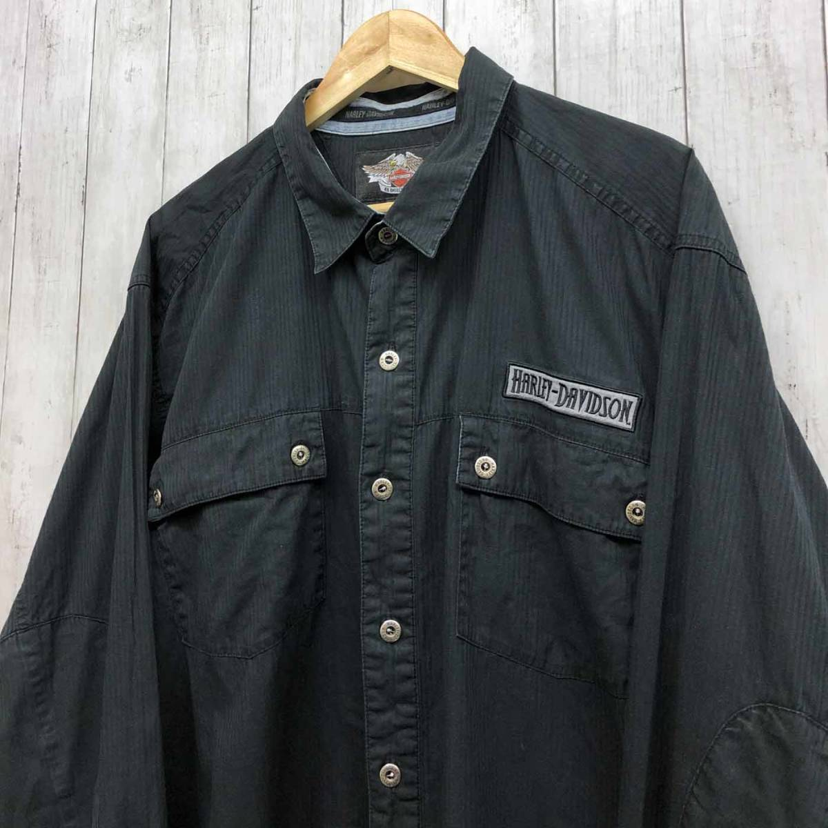 ハーレーダビッドソン Harley Davidson 古着 長袖シャツ ワーカーシャツ メンズ 2XLサイズ 9-76_画像2