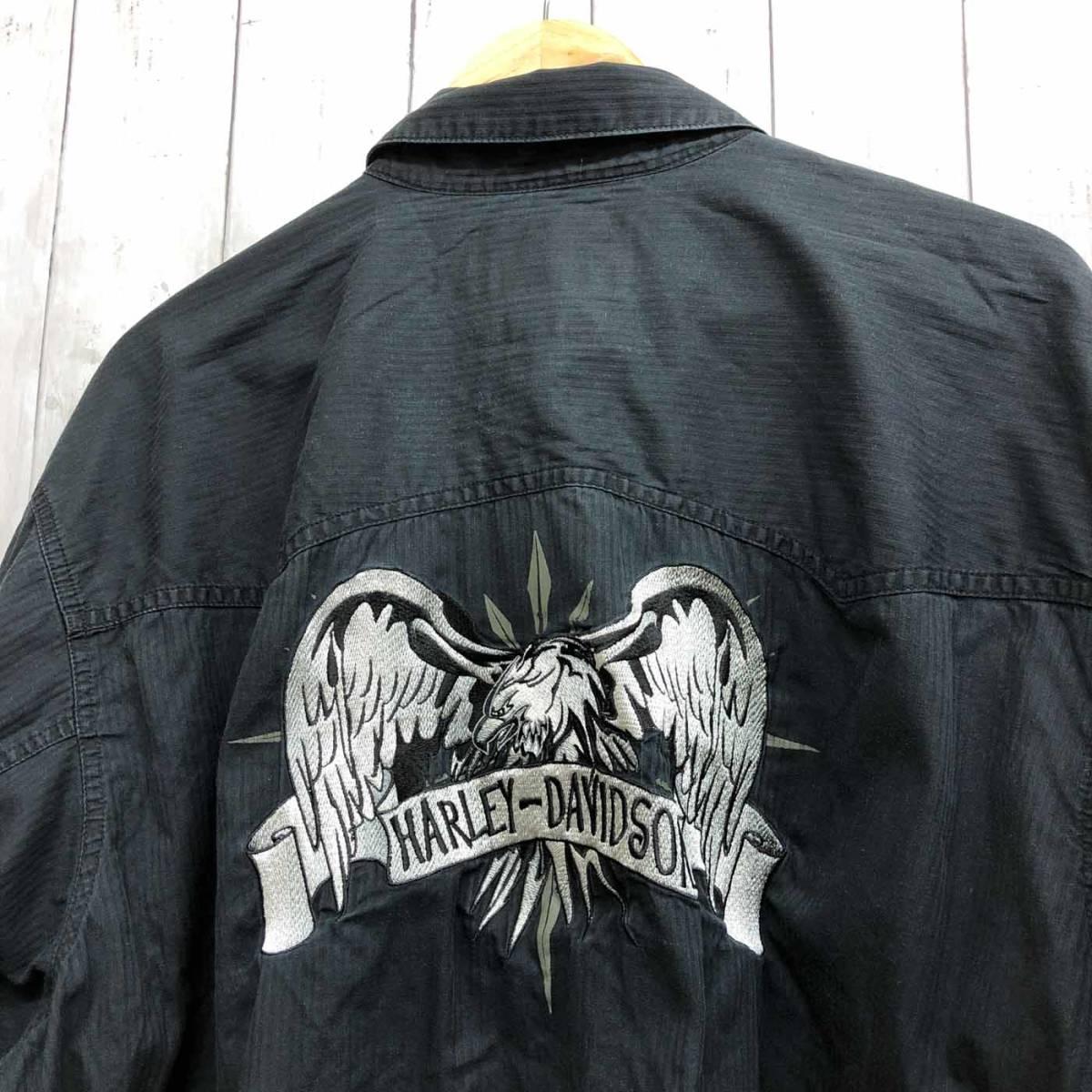 ハーレーダビッドソン Harley Davidson 古着 長袖シャツ ワーカーシャツ メンズ 2XLサイズ 9-76_画像6