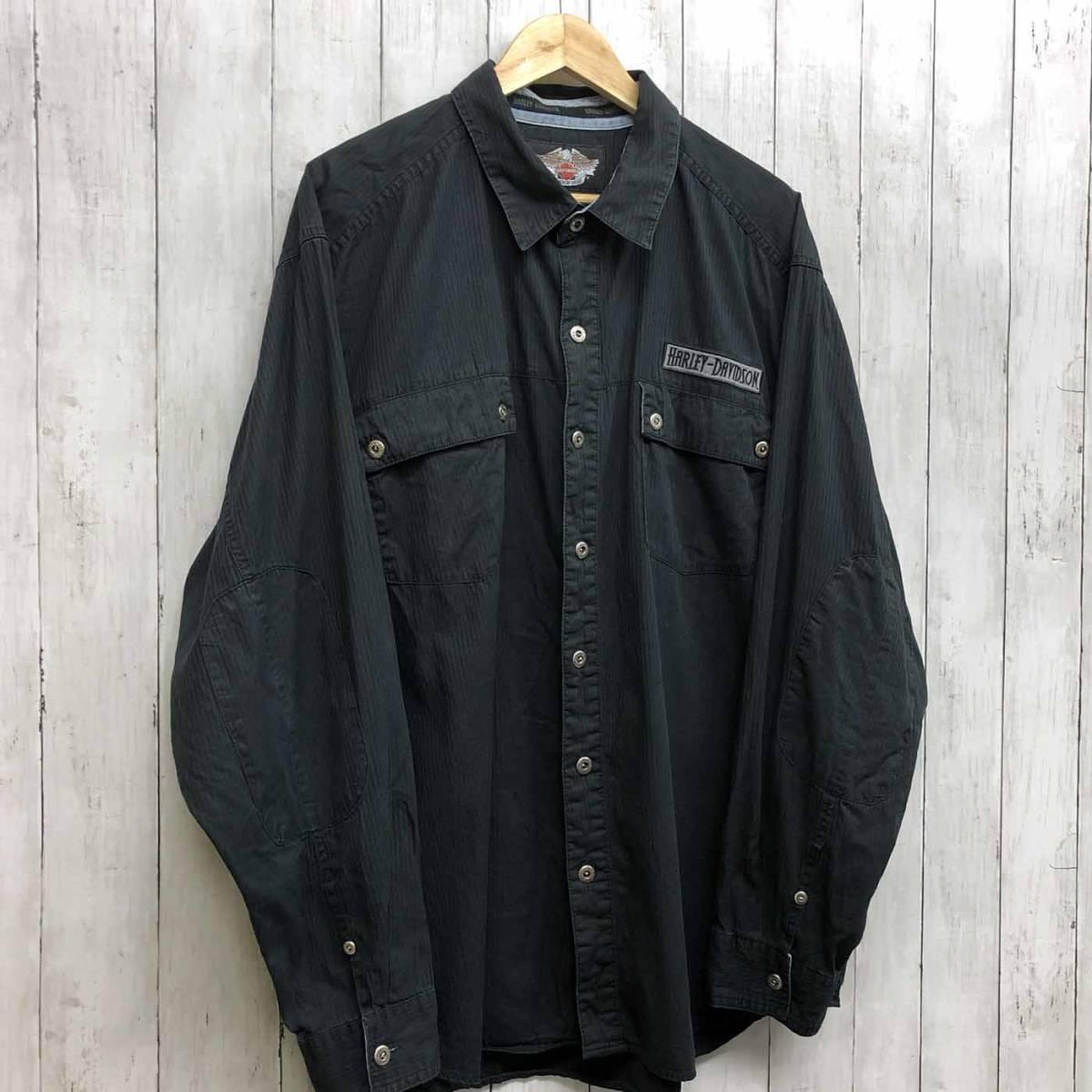 ハーレーダビッドソン Harley Davidson 古着 長袖シャツ ワーカーシャツ メンズ 2XLサイズ 9-76_画像3