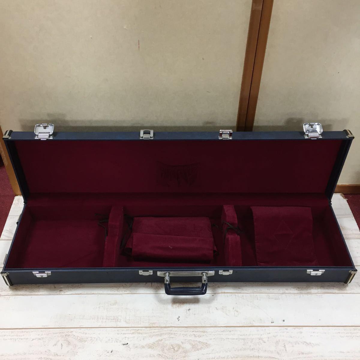 8449 三味線 ハードケース 鍵有り ブルー系 三味線ケース 全長約104cm 内長さ約101.5cm 和楽器 弦楽器 保管 持ち運び 長期保管 同梱NG▽