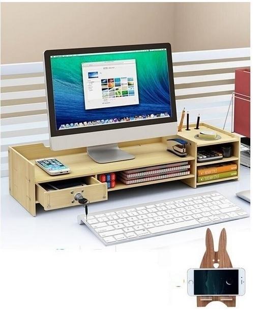 CSN561#スタンド パソコンデスク ラップトップホルダ モニター 棚 ラック 収納 引き出し オフィス 多機能 木製 デスク 机_画像5