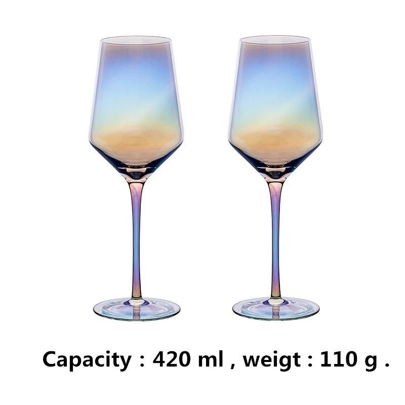 LDL991# 2 ピースセット 結婚式 乾杯 ワイングラス パーティー ワイン ギフト レインボー プレゼント コップ ガラス 食器 おしゃれ_画像3