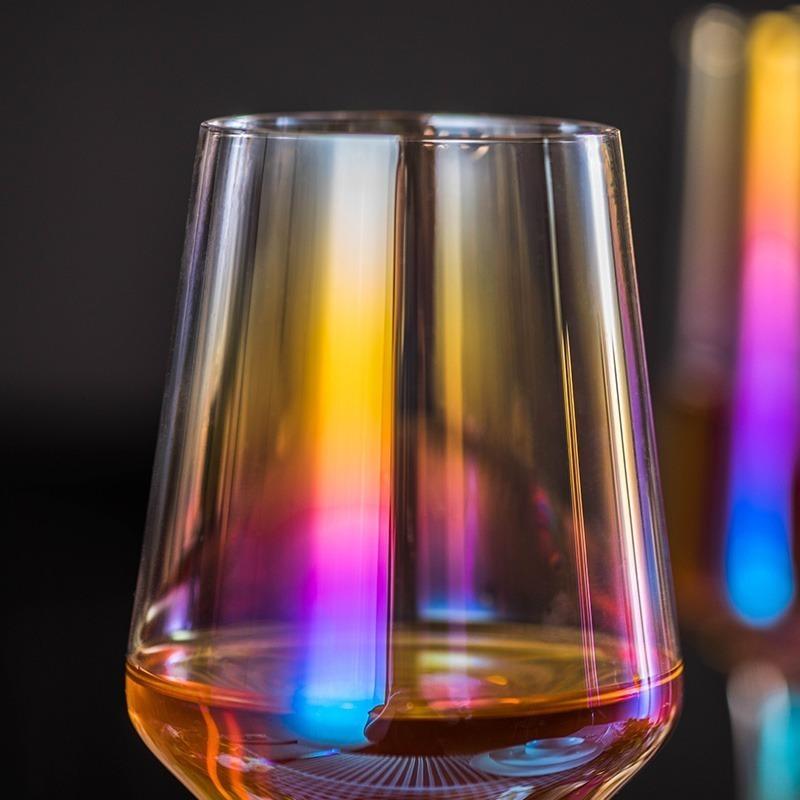 LDL991# 2 ピースセット 結婚式 乾杯 ワイングラス パーティー ワイン ギフト レインボー プレゼント コップ ガラス 食器 おしゃれ_画像2